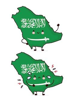 Lindo personaje de bandera y mapa de arabia saudita divertido feliz y triste. icono de ilustración de personaje de kawaii de dibujos animados de línea. sobre fondo blanco. concepto de arabia saudita