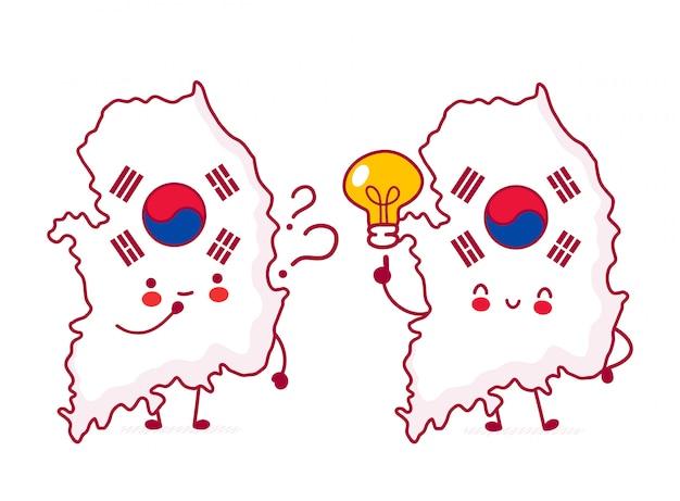 Lindo personaje de bandera y mapa de corea del sur divertido feliz con signo de interrogación y bombilla.