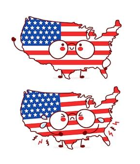 Lindo personaje de bandera y mapa de estados unidos divertido feliz y triste