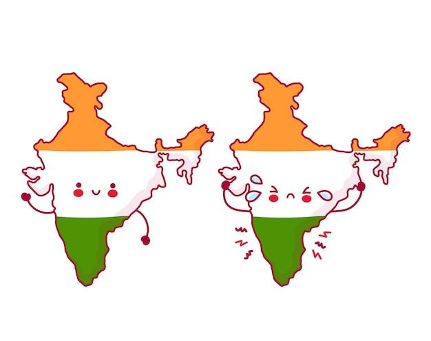 Lindo personaje de bandera y mapa de india divertido feliz y triste