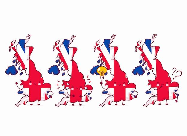 Lindo personaje de bandera y mapa de reino unido divertido feliz. icono de ilustración de personaje de kawaii de dibujos animados de línea. sobre fondo blanco. reino unido, concepto de inglaterra