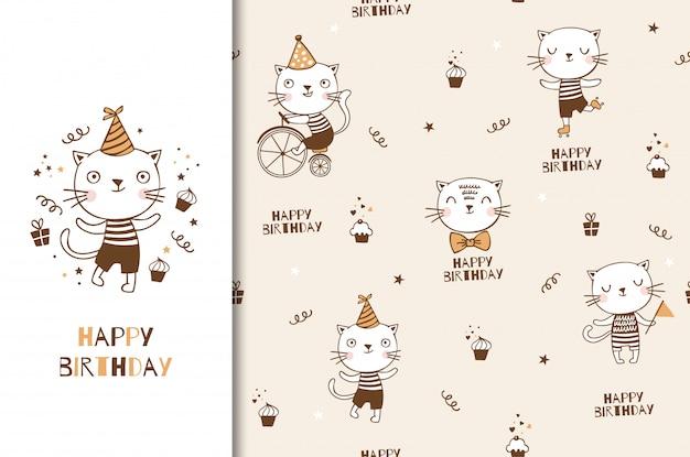 Lindo personaje de bebé gatito gato. tarjeta de cumpleaños para niños y fondo de fiesta decorativa. dibujado a mano ilustración de diseño animal de dibujos animados.