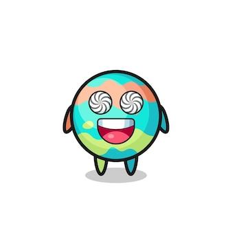 Lindo personaje de bombas de baño con ojos hipnotizados, diseño de estilo lindo para camiseta, pegatina, elemento de logotipo