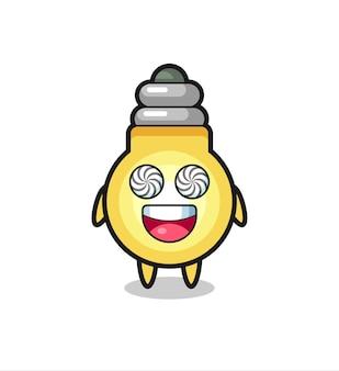Lindo personaje de bombilla con ojos hipnotizados, diseño de estilo lindo para camiseta, pegatina, elemento de logotipo