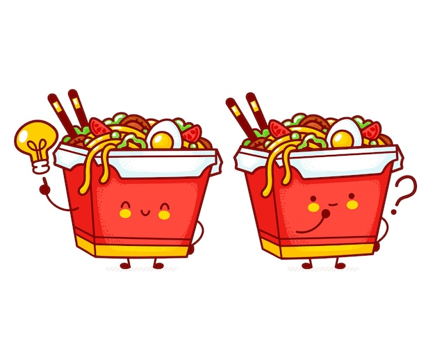 Lindo personaje de caja de fideos wok feliz divertido con pregunta