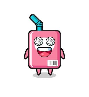 Lindo personaje de caja de leche con ojos hipnotizados, diseño de estilo lindo para camiseta, pegatina, elemento de logotipo