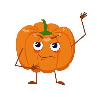 Lindo personaje de calabaza con cara y emociones, brazos y piernas. el héroe divertido o triste, naranja vegetal otoñal. vector plano halloween