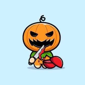 Lindo personaje de calabaza rebanada de fruta con ilustración de dibujos animados de cuchillo