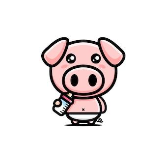 Lindo personaje de cerdo bebé