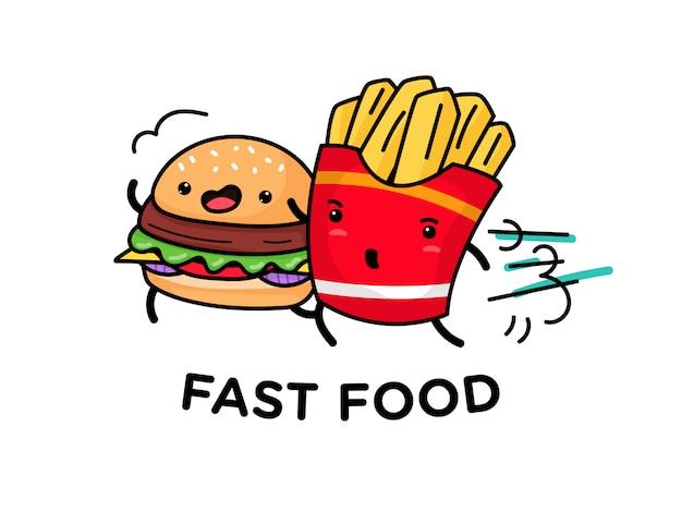 Lindo personaje de comida rápida con cara feliz