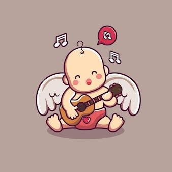 Lindo personaje de cupido bebé tocando la guitarra en el tema de san valentín