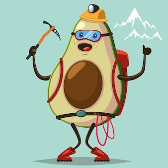 Lindo personaje de dibujos animados de aguacate con equipo de montañismo comprometido escalada en roca