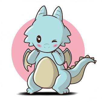 Lindo personaje de dibujos animados de baby dragon., concepto de dibujos animados de cuento de hadas.