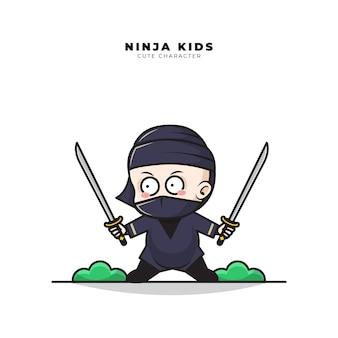 Lindo personaje de dibujos animados de baby ninja sostiene dos espadas