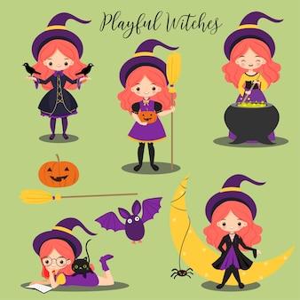 Lindo personaje de dibujos animados de brujas y elementos de halloween