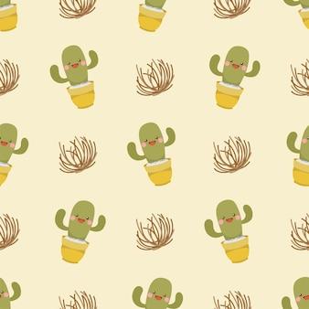 Lindo personaje de dibujos animados de cactus y tumbleweed de patrones sin fisuras