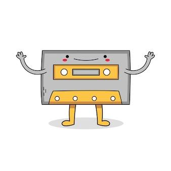 Lindo personaje de dibujos animados de cassette