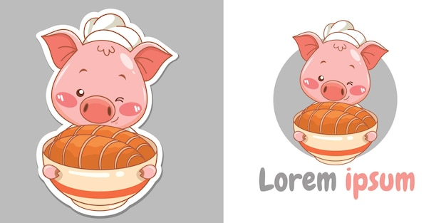 Lindo personaje de dibujos animados de cerdo chef presentando mascota de comida crujiente de vientre de cerdo e ilustración
