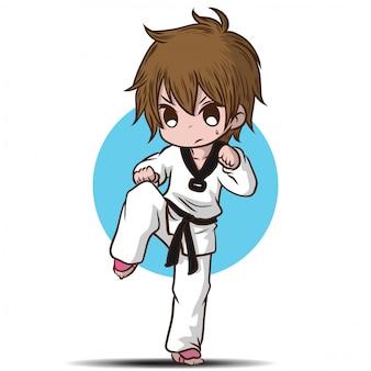 Lindo personaje de dibujos animados de chico takwando.
