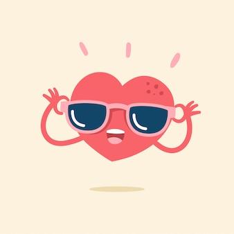 Lindo personaje de dibujos animados de corazón sonriendo alegremente
