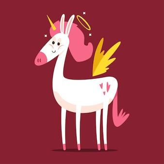 Lindo personaje de dibujos animados de cupido unicornio aislado sobre fondo.