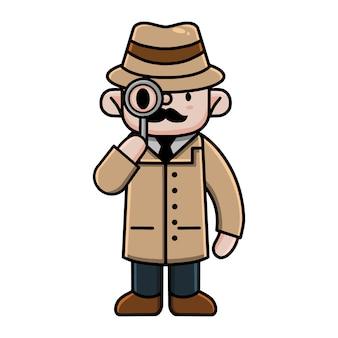 Lindo personaje de dibujos animados detective