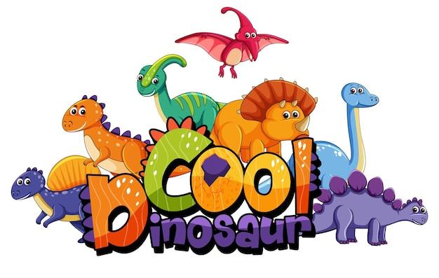 Lindo personaje de dibujos animados de dinosaurios con banner de fuente de dinosaurio genial