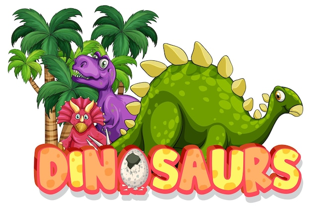 Lindo personaje de dibujos animados de dinosaurios con banner de fuente de dinosaurios