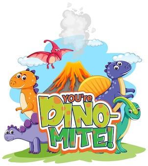 Lindo personaje de dibujos animados de dinosaurios con tu banner de fuente dino-mite