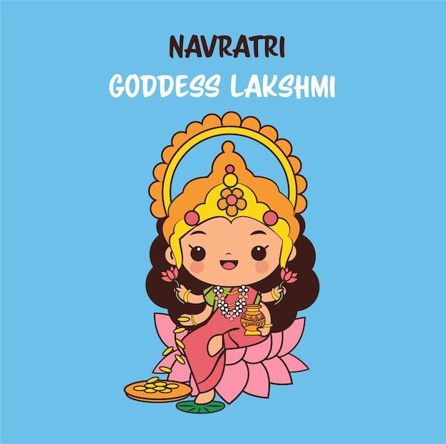 Lindo personaje de dibujos animados de la diosa laksami para el festival navratri en india