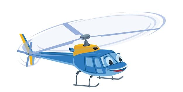 Lindo personaje de dibujos animados divertido helicóptero azul