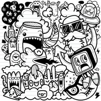 Lindo personaje de dibujos animados de doodle dibujado a mano