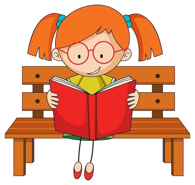 Lindo personaje de dibujos animados de doodle de libro de lectura de niña