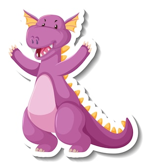Lindo personaje de dibujos animados de dragón púrpura pegatina