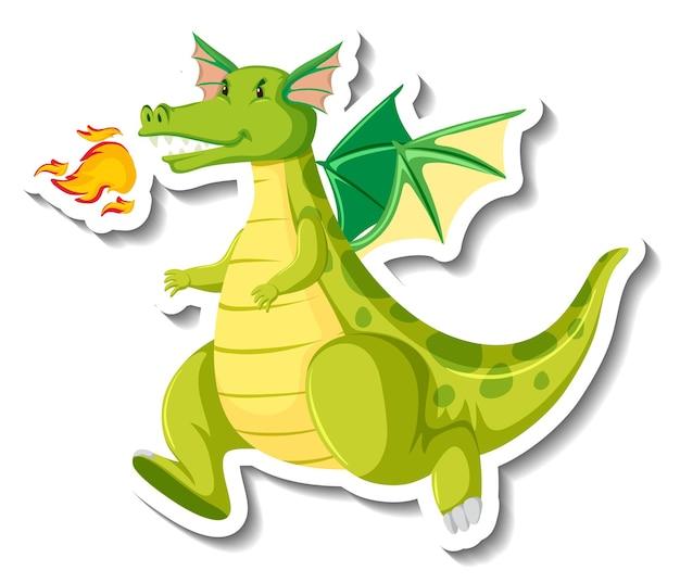 Lindo personaje de dibujos animados de dragón verde pegatina
