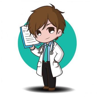 Lindo personaje de dibujos animados estilo médico.