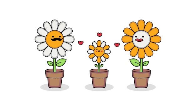 Lindo personaje de dibujos animados de la familia de flores