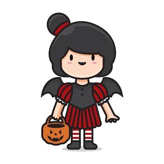 Lindo personaje de dibujos animados femenino vampiro disfraz de halloween