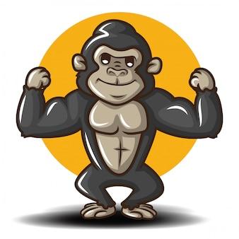 Lindo personaje de dibujos animados de gorila. lindo animal