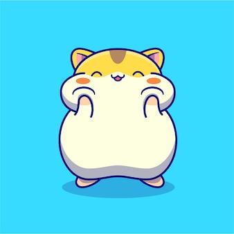 Lindo personaje de dibujos animados de hámster feliz. naturaleza animal aislada.