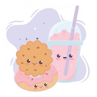 Lindo personaje de dibujos animados kawaii batido de galletas y donas