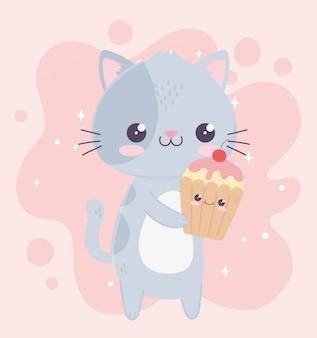 Lindo personaje de dibujos animados kawaii pequeño gato y cupcake