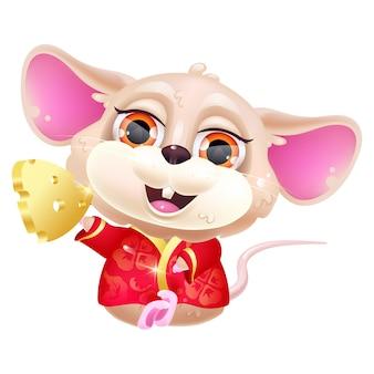 Lindo personaje de dibujos animados kawaii de ratón sentado.