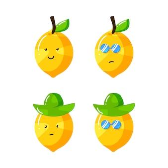 Lindo personaje de dibujos animados de limón con sombrero y gafas de sol en estilo plano dibujado a mano