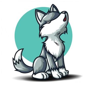 Lindo personaje de dibujos animados de lobo. concepto de dibujos animados de animales.