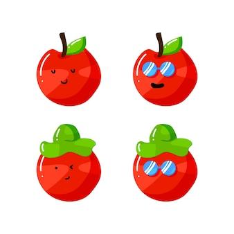 Lindo personaje de dibujos animados de manzana con sombrero y gafas de sol en estilo plano dibujado a mano