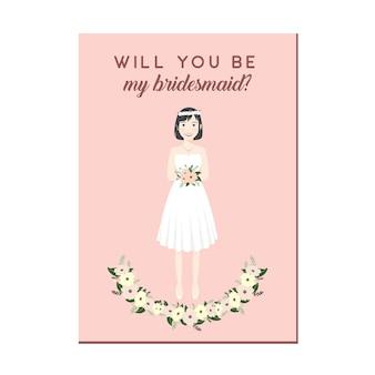Lindo personaje de dibujos animados de niña en vestidos blancos invitación de dama de honor