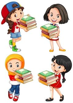 Lindo personaje de dibujos animados de niña