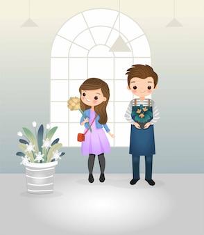 Lindo personaje de dibujos animados de niño y niña en la tienda de flores