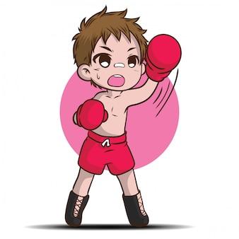 Lindo personaje de dibujos animados de niño tailandés.